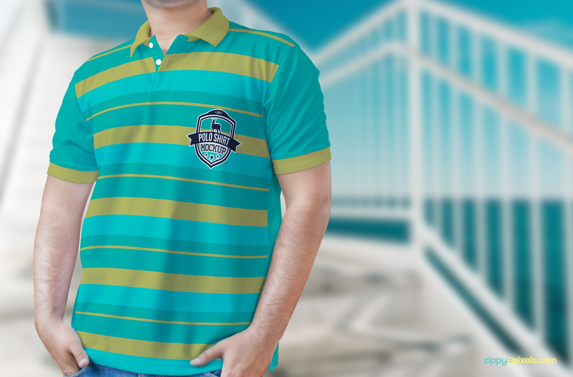 True to life depiction of a polo shirt mockup