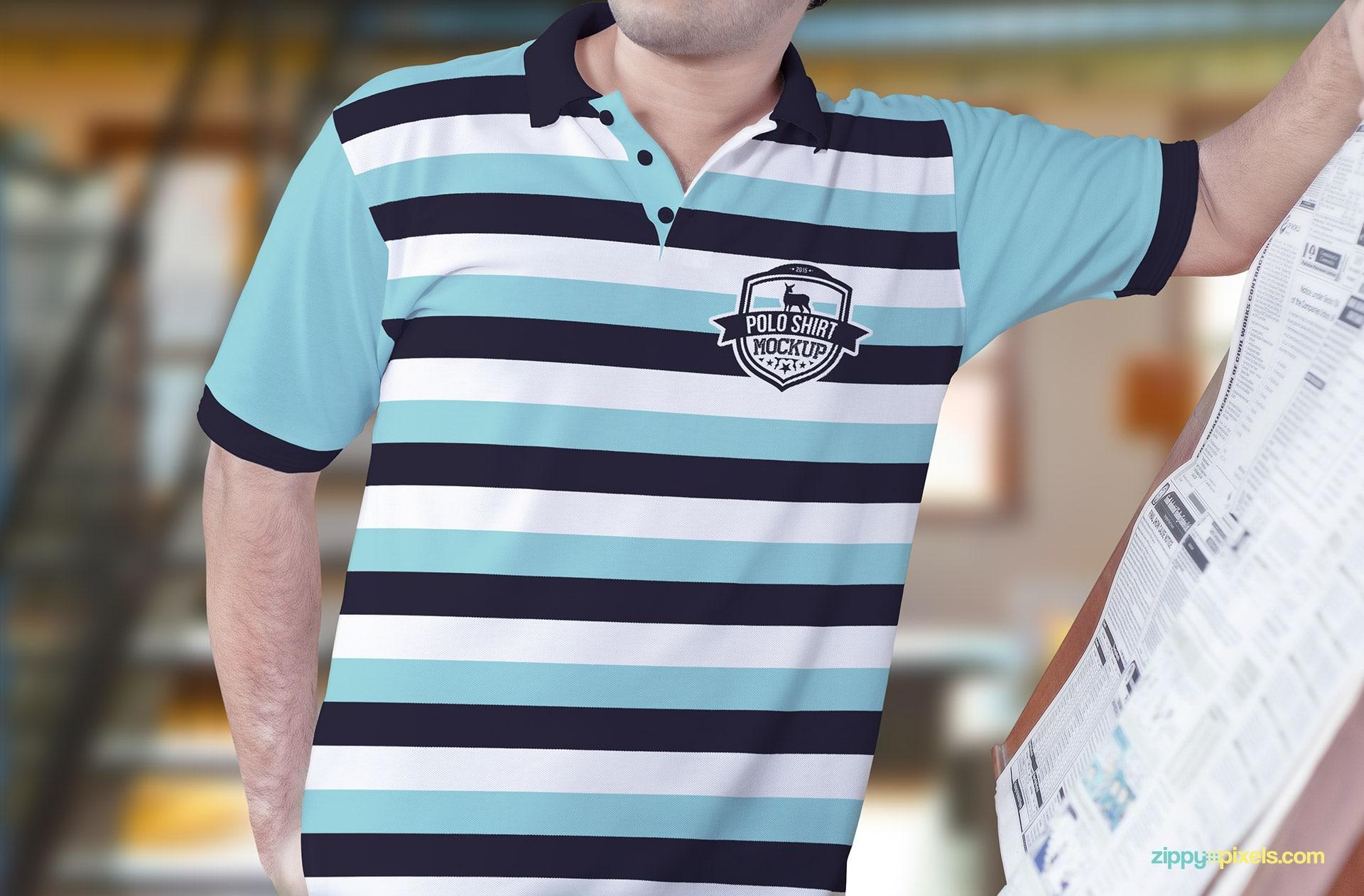 Model posing with a polo shirt mockup