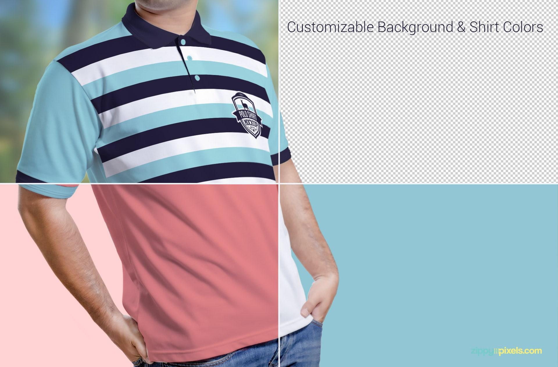 Muliple customization features of polo shirt mockups vol. 3