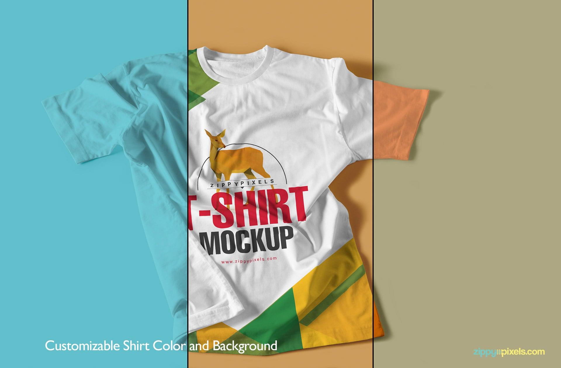 Tee shirts mockups with multiple customization options