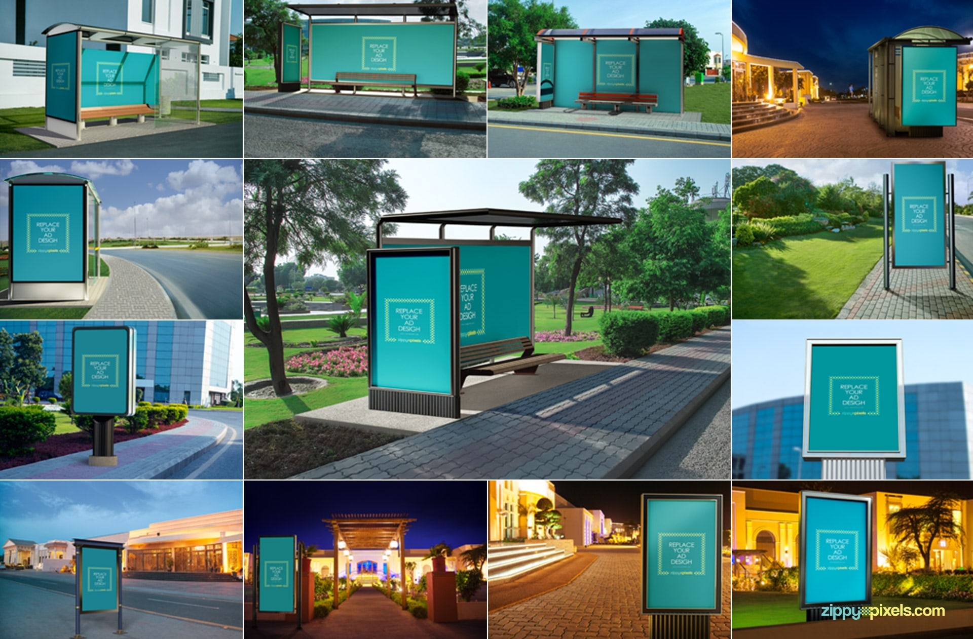 Bus stop and road side poster mockups with endless possibilities.