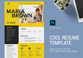 Cool Resume Template & Cover Letter for Creative Designers