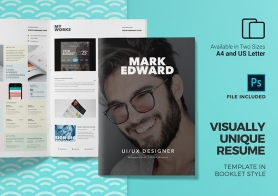 Visually Unique Resume Template in Booklet Style