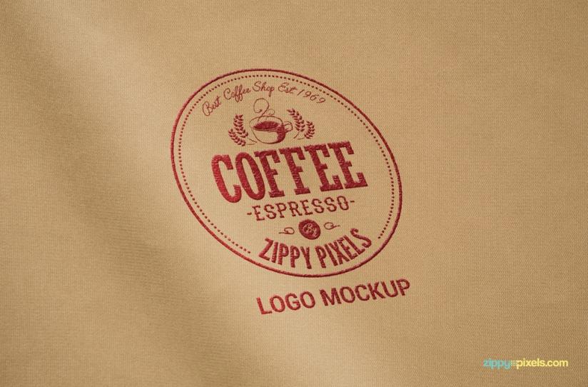 Free logo mockup in PSD format.