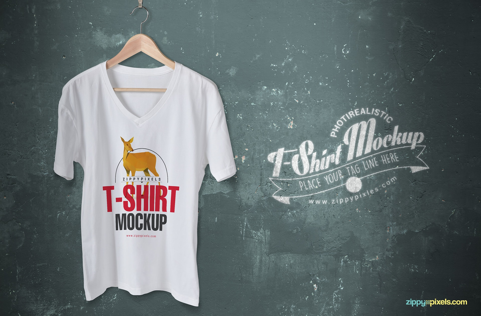 Give a trendy flare to your t-shirt designs with this free v-neck tshirt mockup.