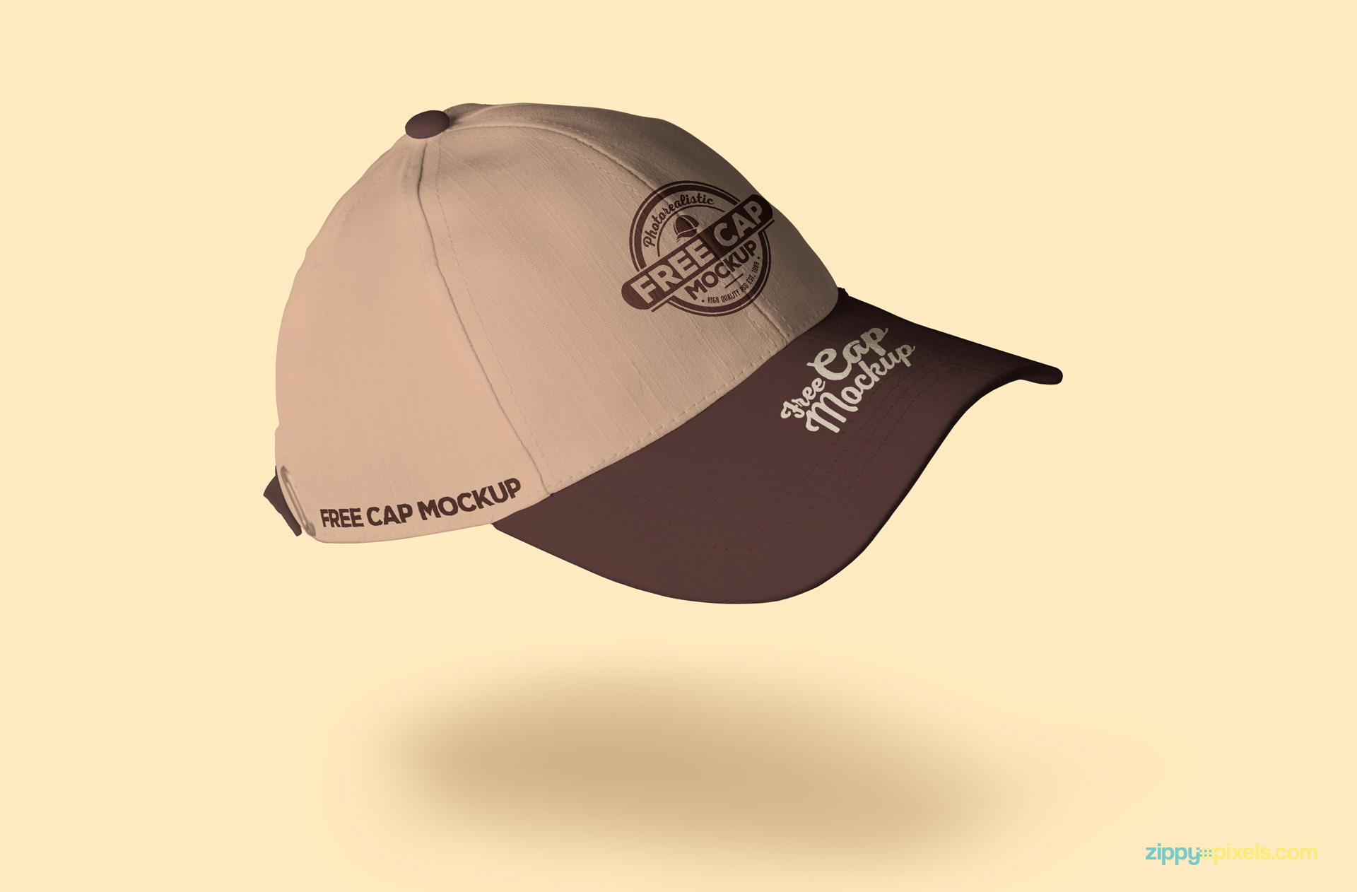 Free baseball cap mockup with realistic shadows.