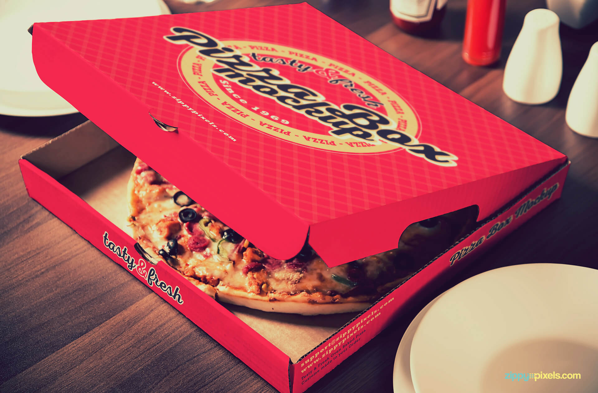 Pizza cardboard box mockup.
