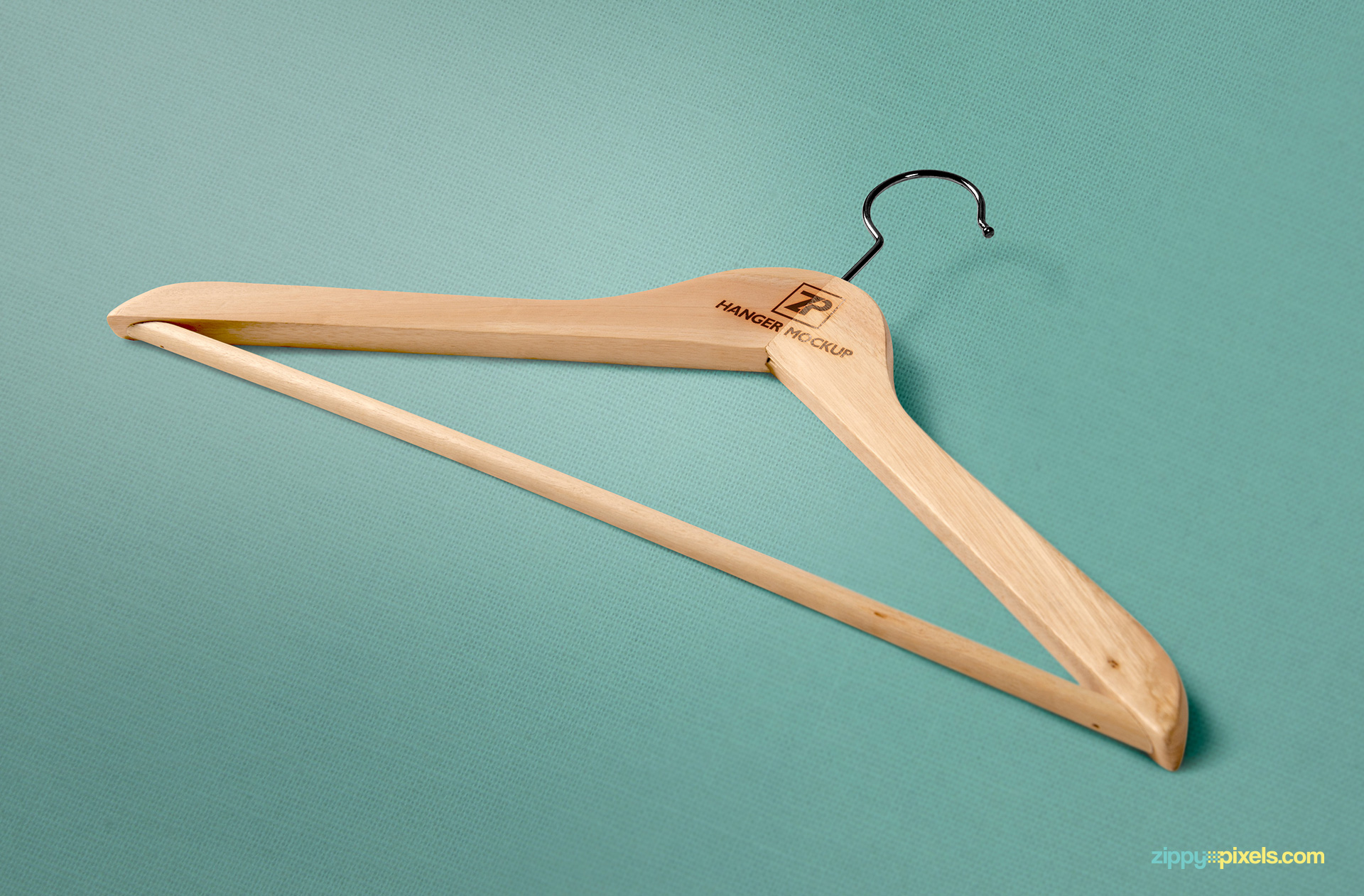 Free high-quality wooden hanger mockup psd.