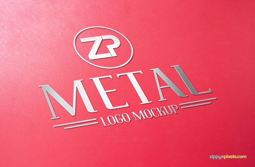 Free logo mockup with metal design.