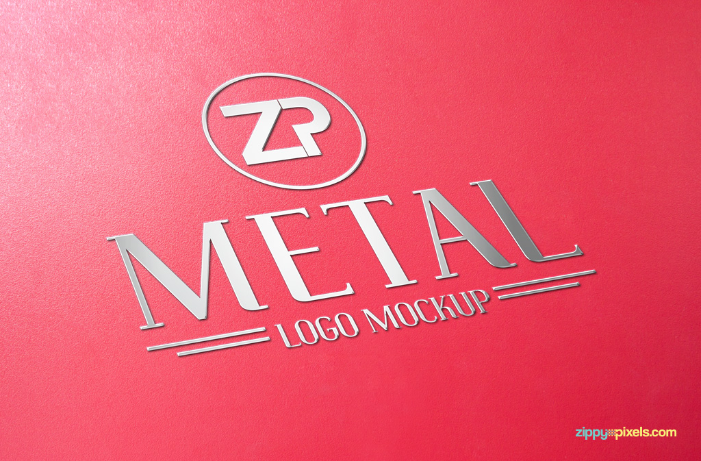 Free logo mockup with metal design.