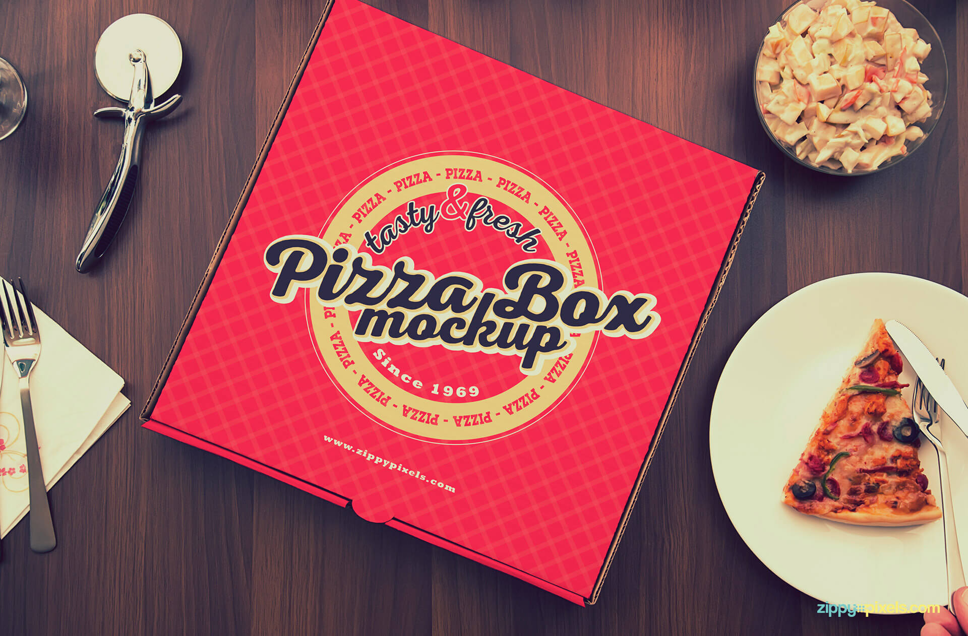 Box packaging mockup design for pizzas.