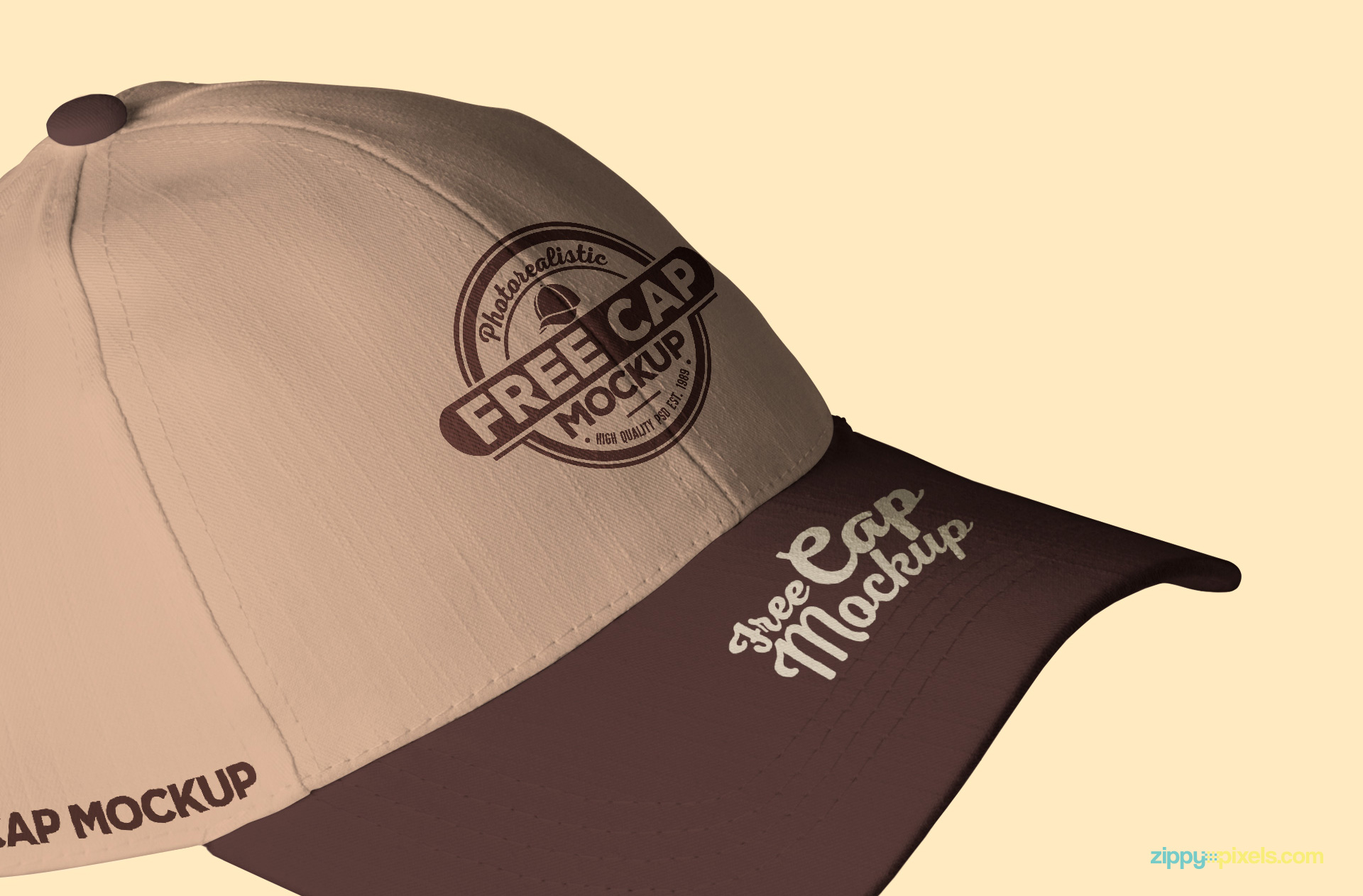 Free baseball cap mockup with editable colors and backgrounds.