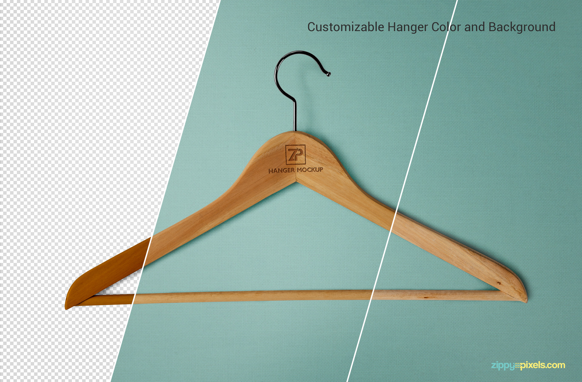 The editable features of the cloth hanger mockup.