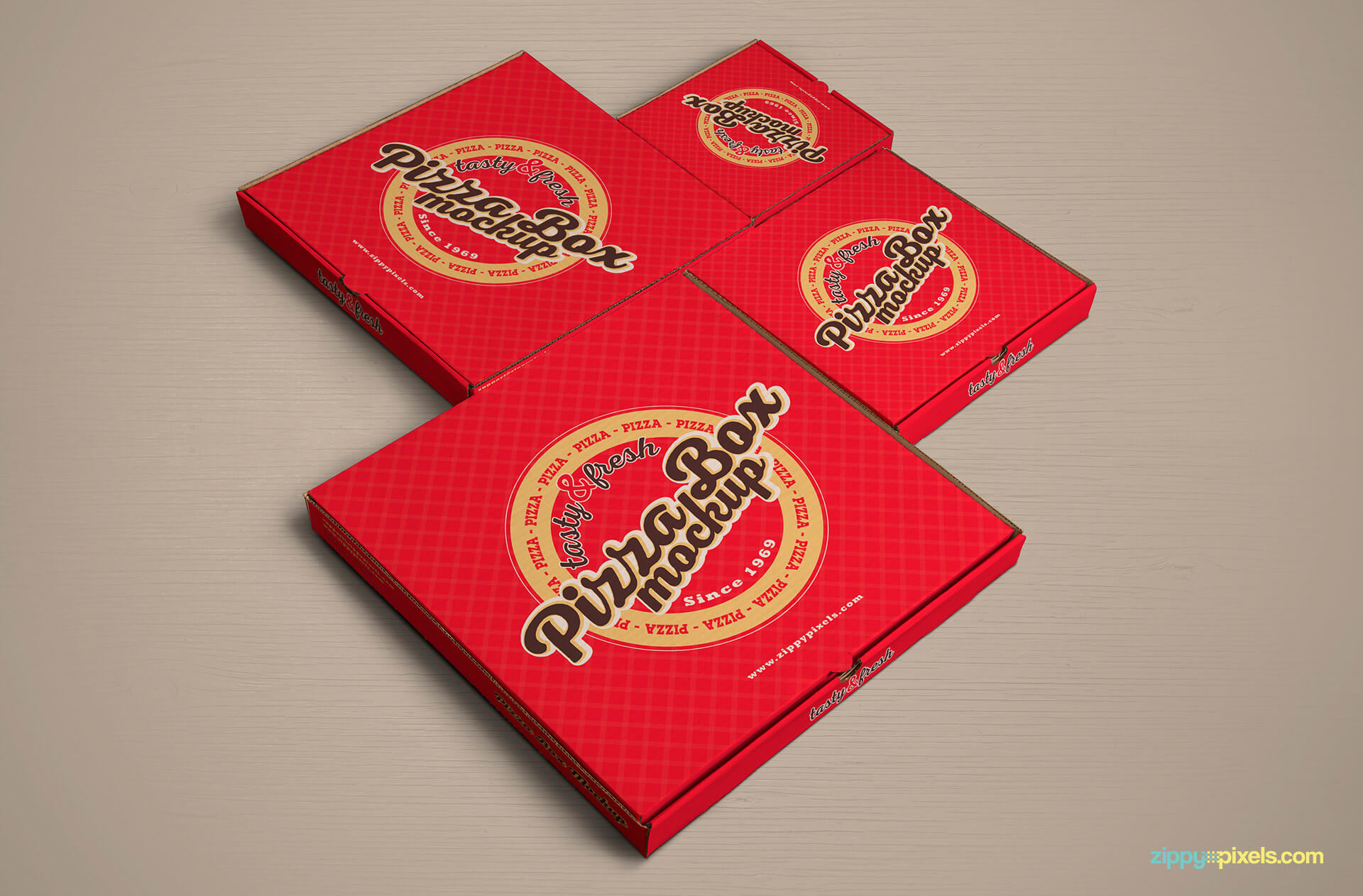 Pizzabox cover design mockup PSD.
