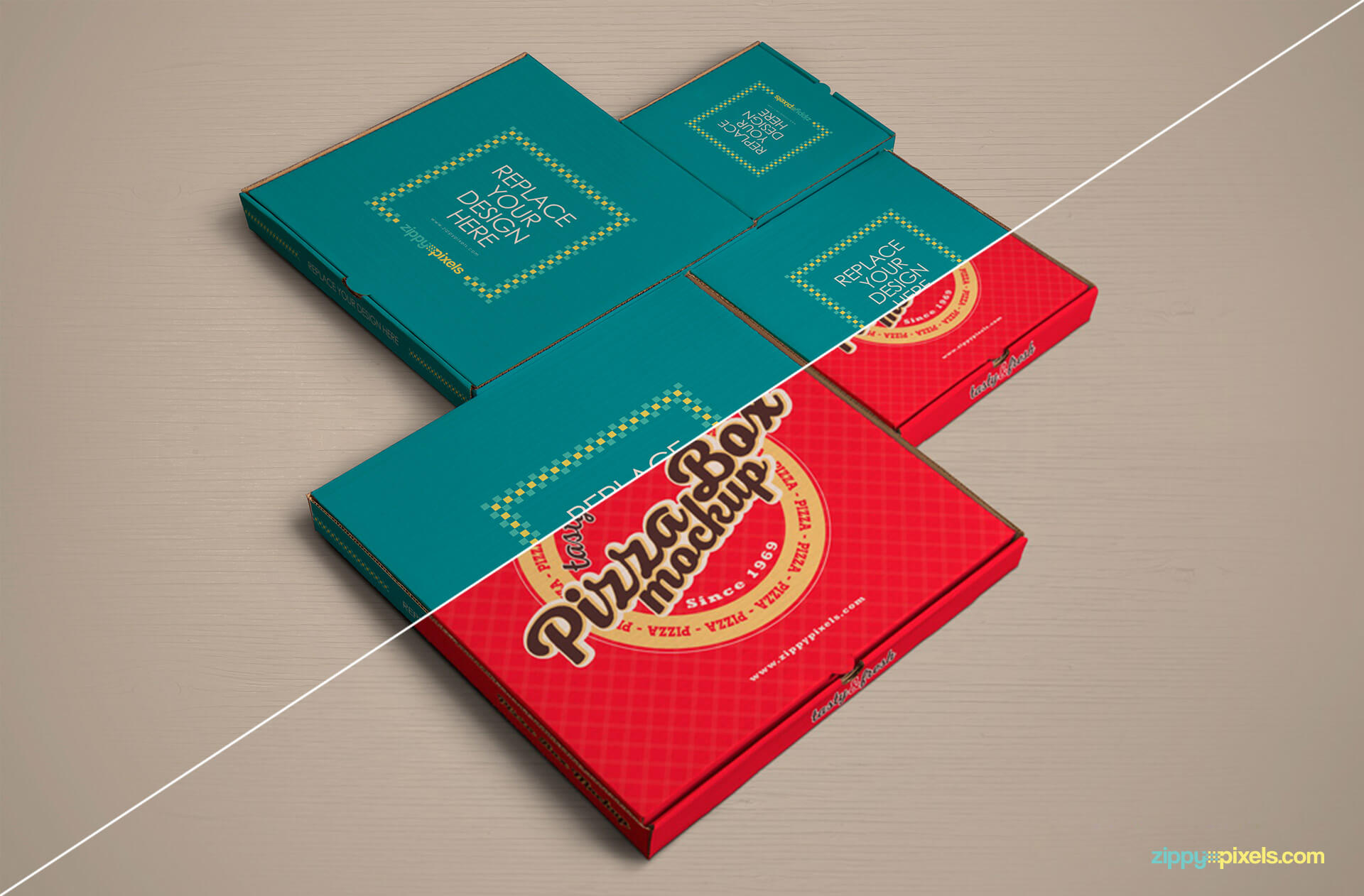 Customizable pizzabox mockups.