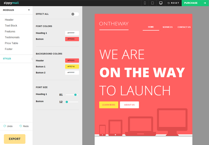 ontheway newsletter email template with drag and drop builder