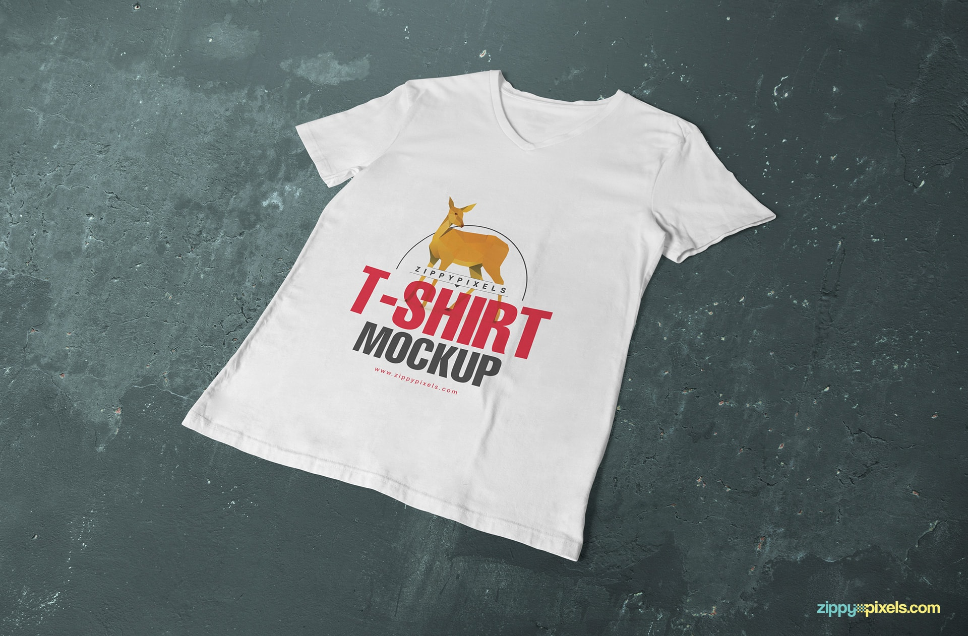 v-neck-t-shirt-mockup-placed-on-surface