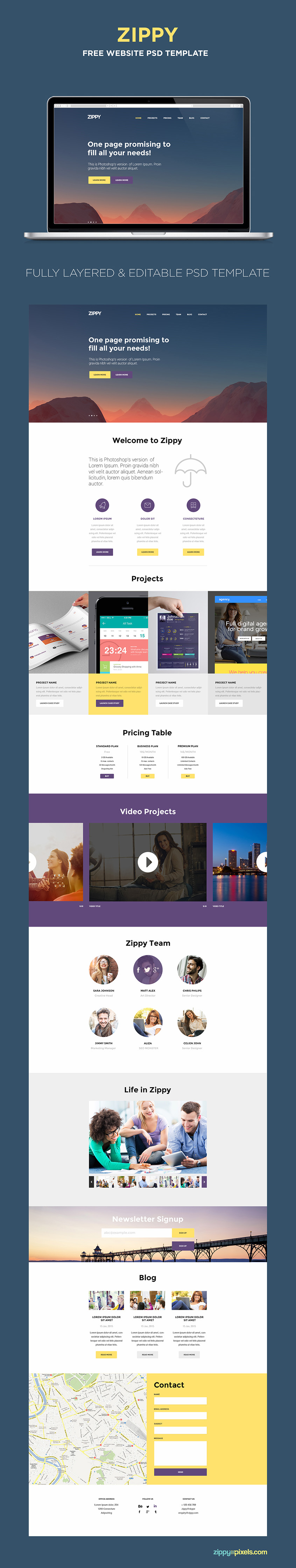 Create or present amazing one page website designs with this free PSD template.