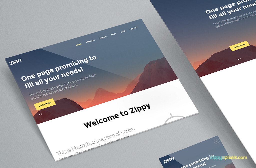 Free perspective mockup for web.