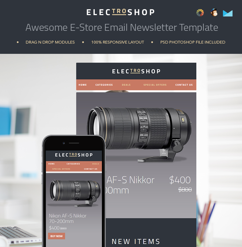 Keep your customers informed and updated with this e-commerce newsletter template.