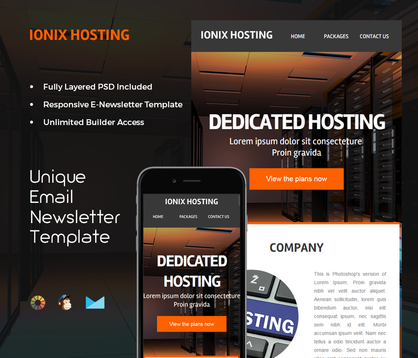 A versatile email template for people providing web hosting services.