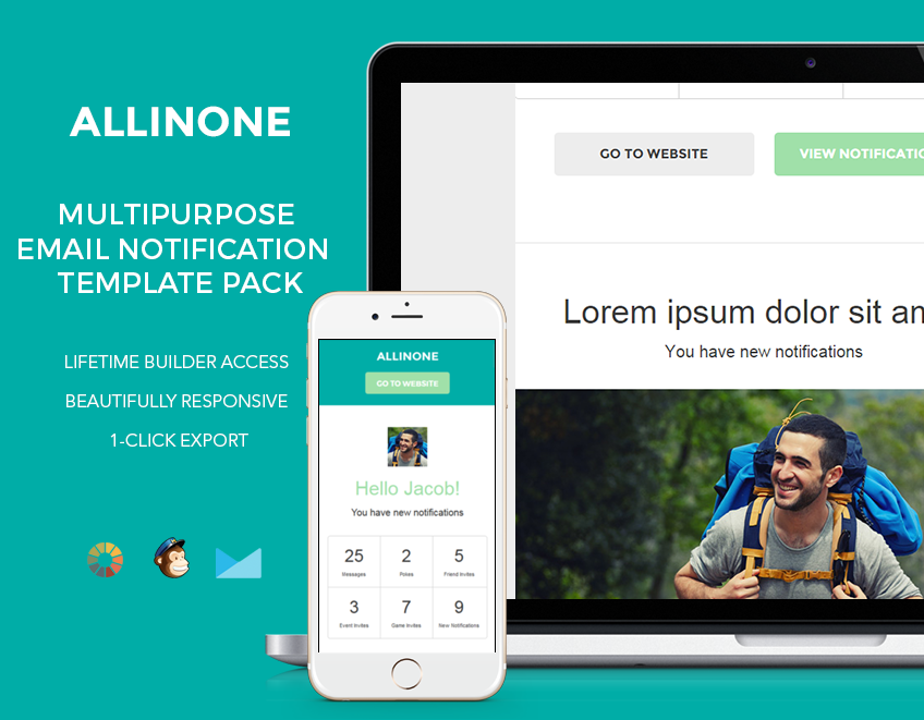 Email notification template pack with customizable styles, font colors, images and more.