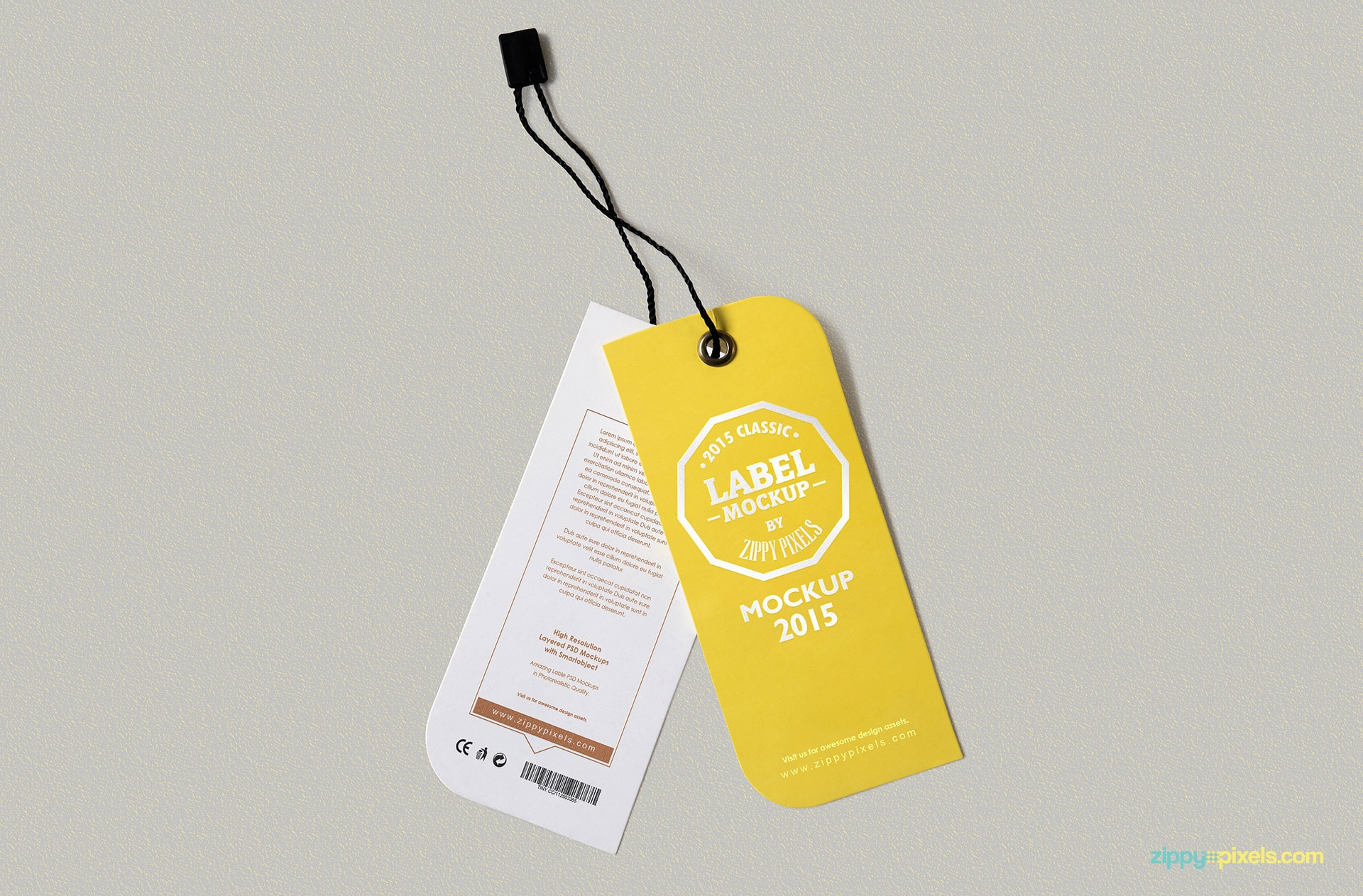 Yellow dual tag mockup.