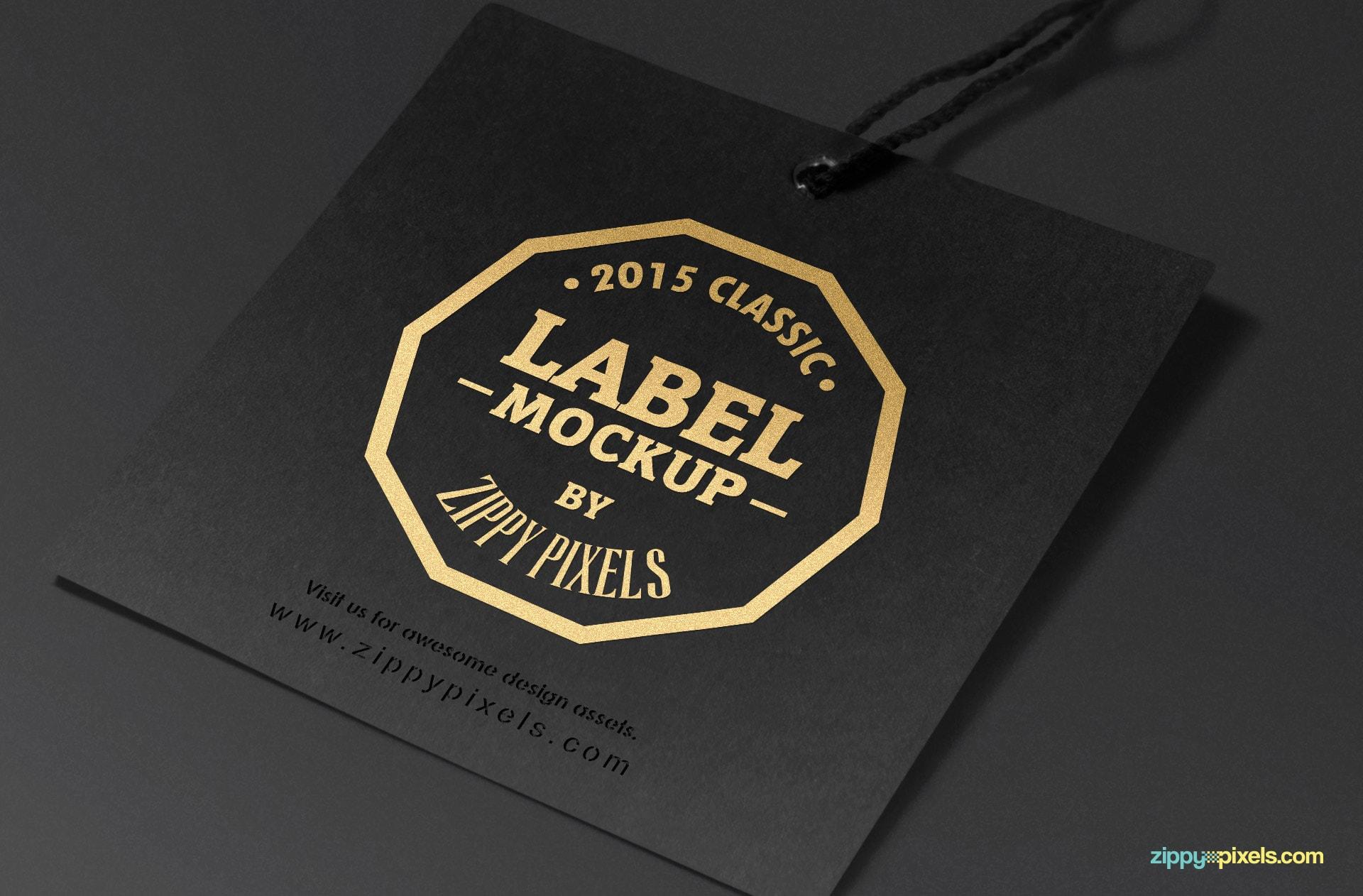Classic tag mockup in black.