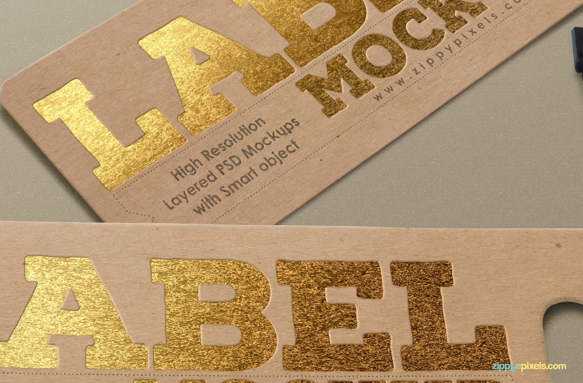 Close-up of a tag mockup with printed foiling effect.