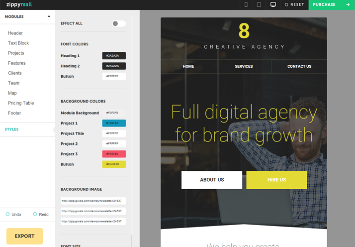 creative agency predesigned email template with free builder access