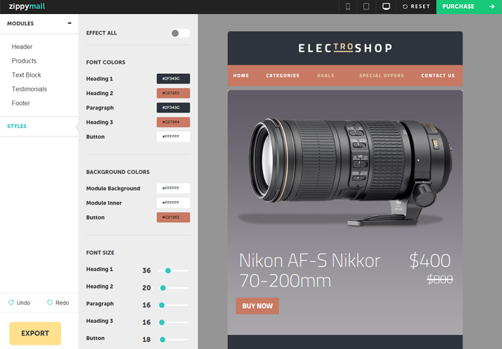 electroshop awesome email templates with customizeable layouts