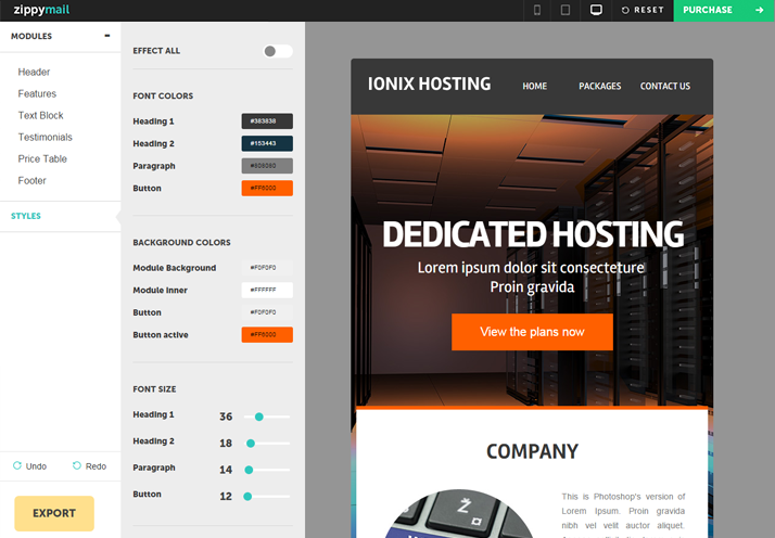 ionixhosting email template for hosting plans and packages