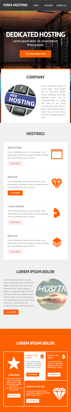 ionixhosting web hosting enewsletter template