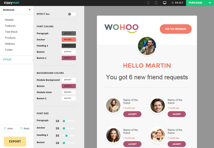 wohooII mailchimp and campaign monitor templates