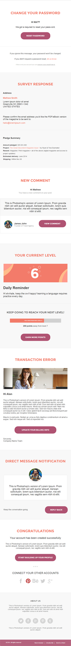 Responsive email notification template
