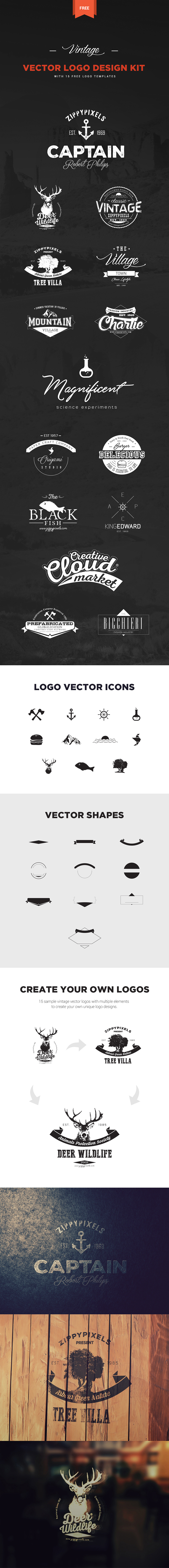 Editable logo templates with 21 vector designs
