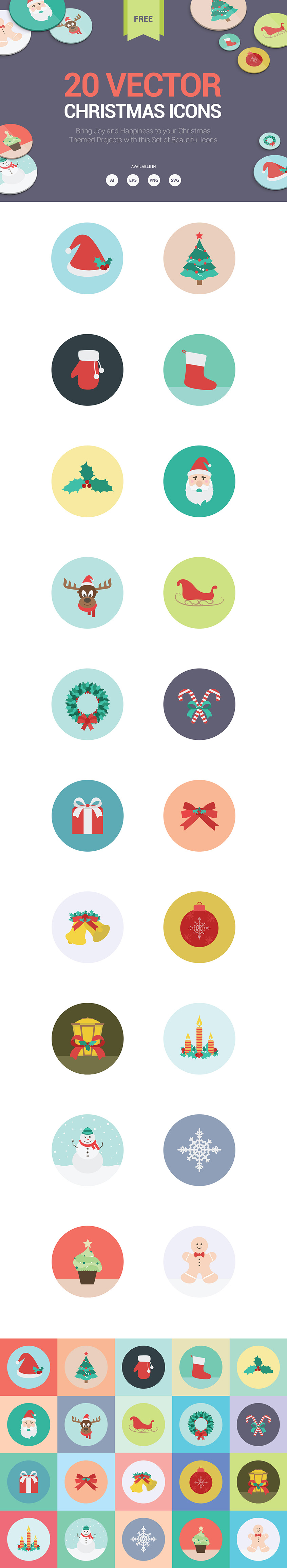 20 high quality chirstmas icons in ai, eps, svg and png file formats.