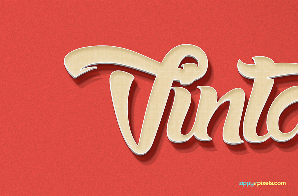 Vintage text effect with smart object in PSD.