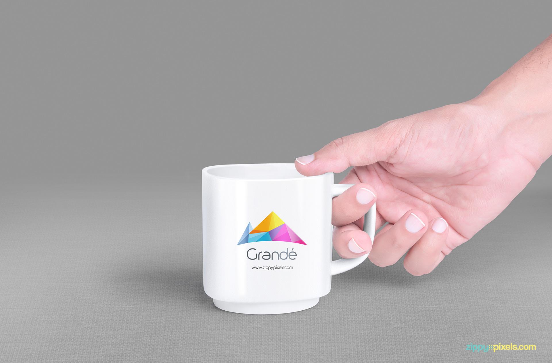 Freebie mug mockup in realistic environment.