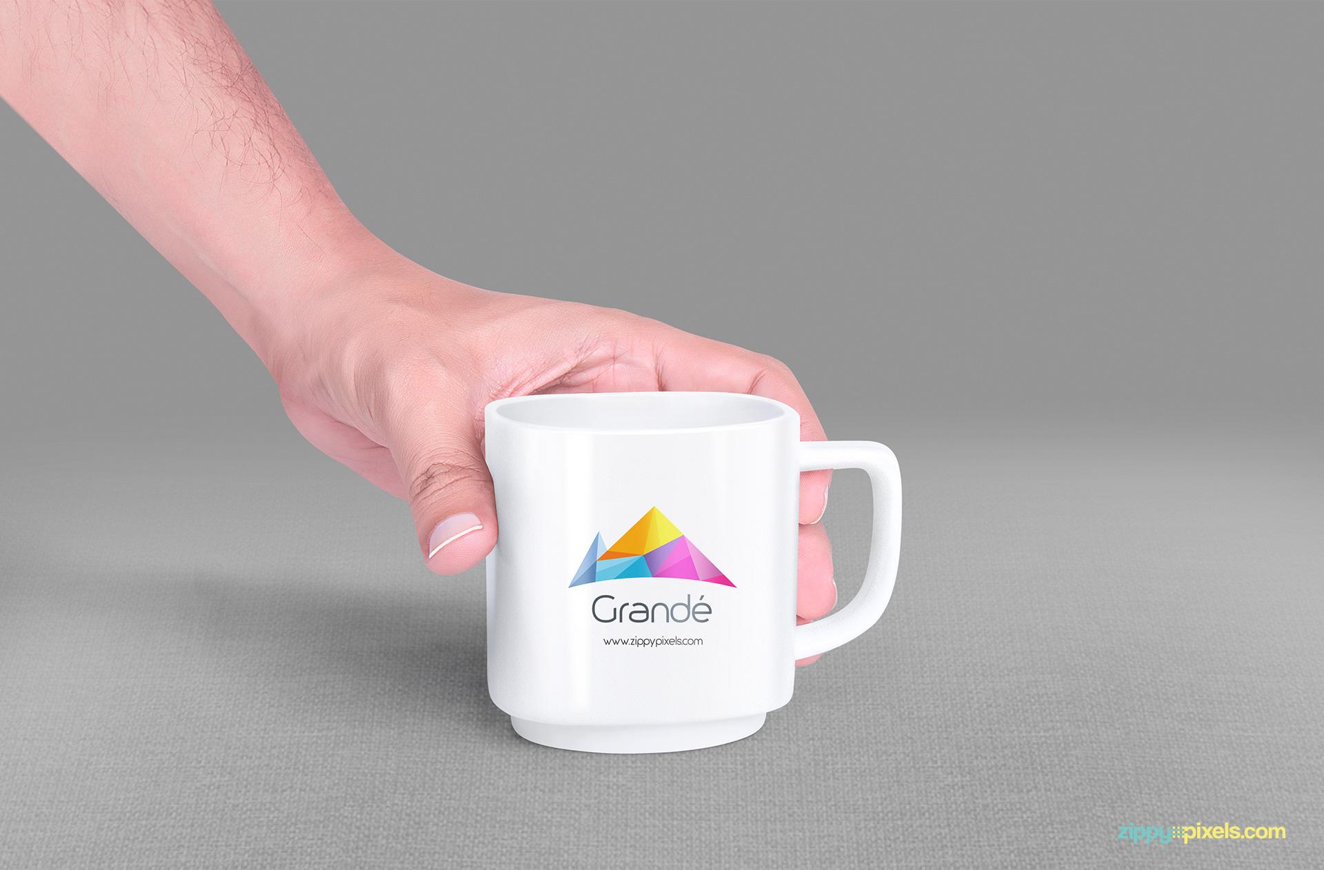 Free mug mock up with 7 handheld positions.