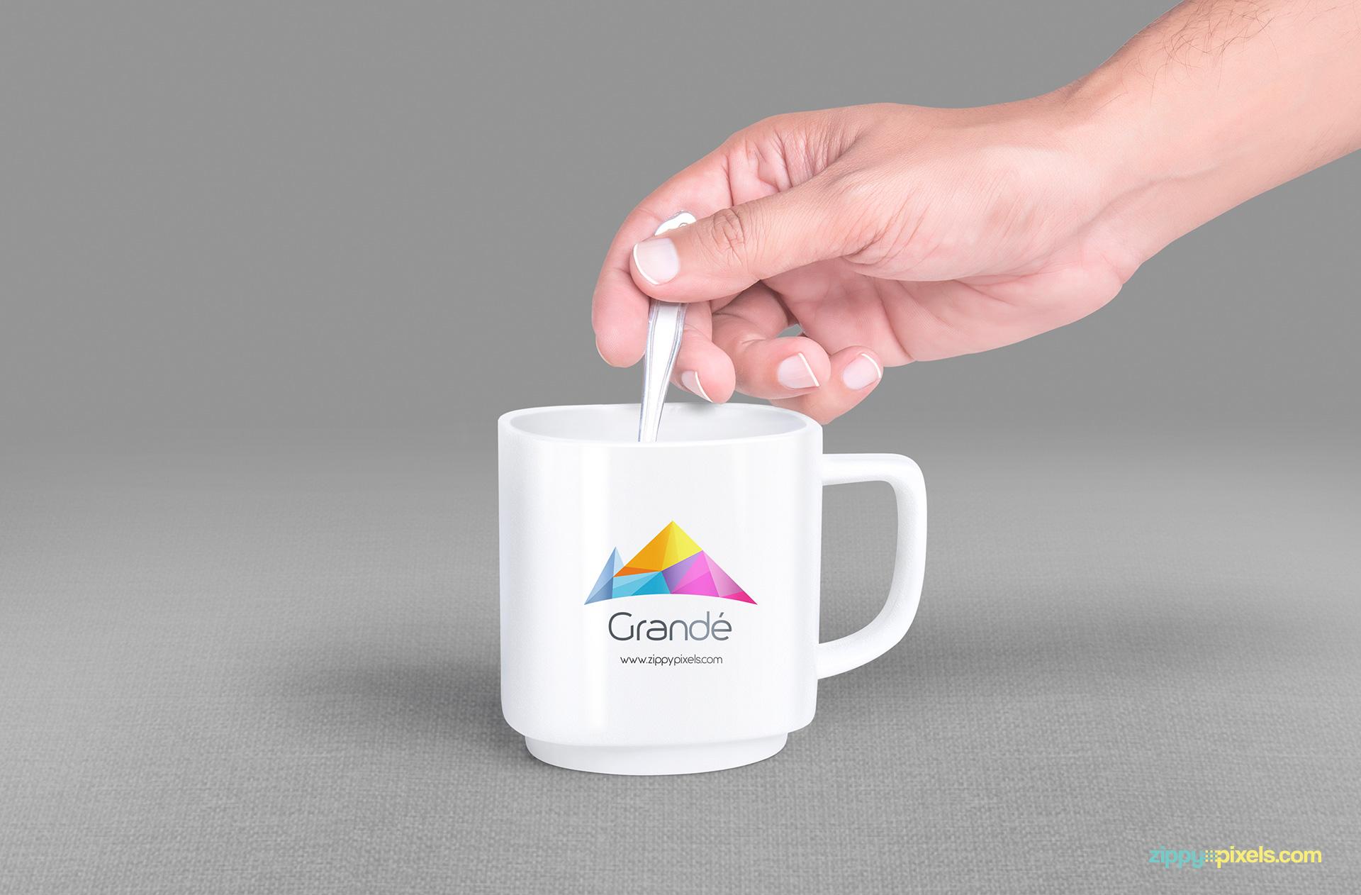 Easy to use free psd mug mockup.