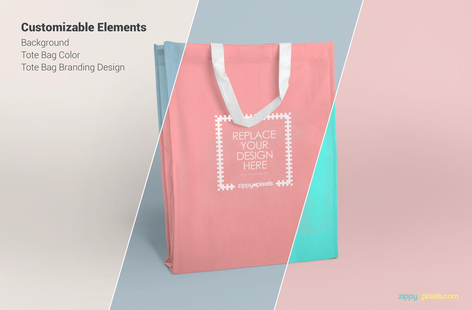 Free fabric tote bag PSD mockups