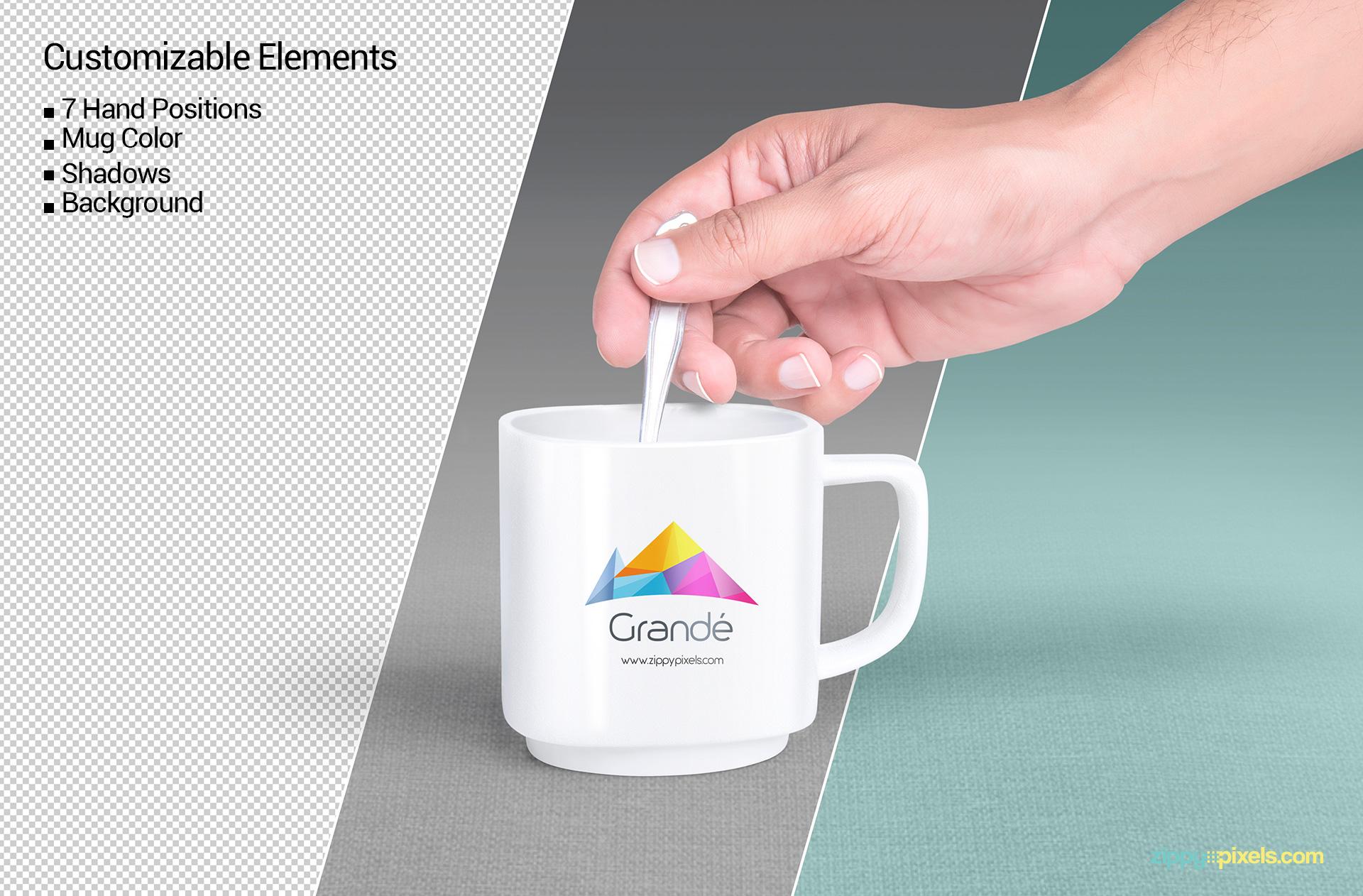 Awesome mug mockup with editable shadows.