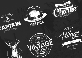 Vintage Vector Logo Design Kit With 15 Free Logo Templates