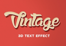 Free PSD 3D Text Effect – Vintage Style