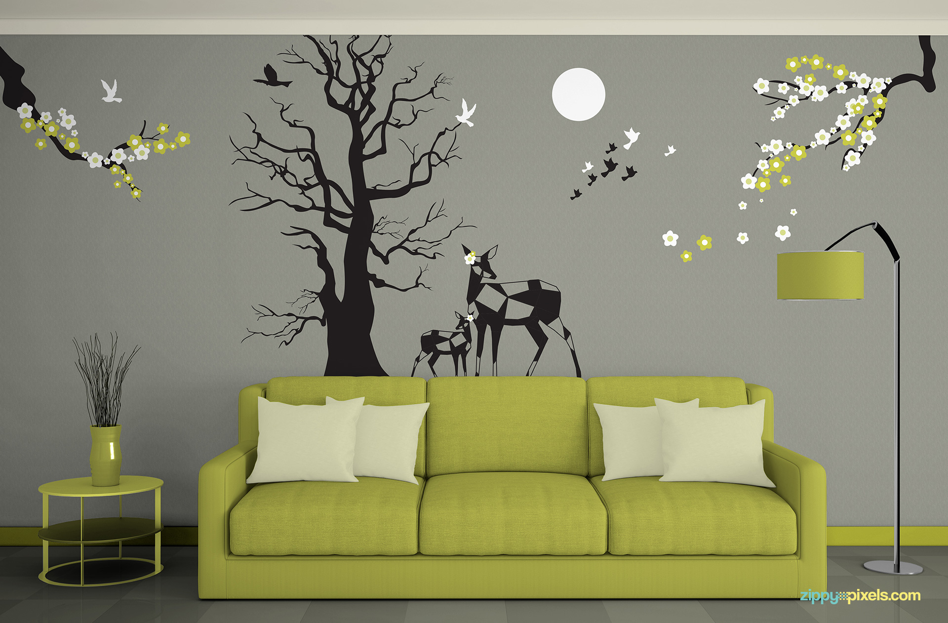 Free wall art mockup to showcase your wall designs