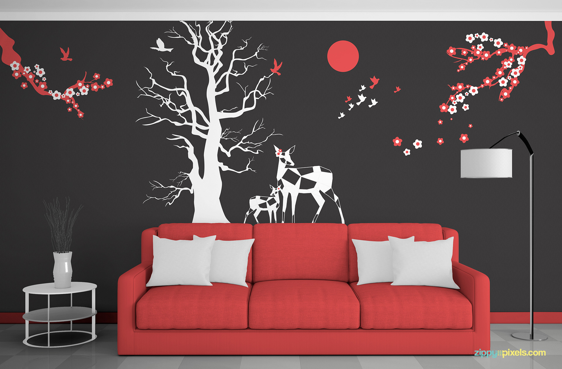 Editable Wall Art Mockup In Red And White Color Scheme