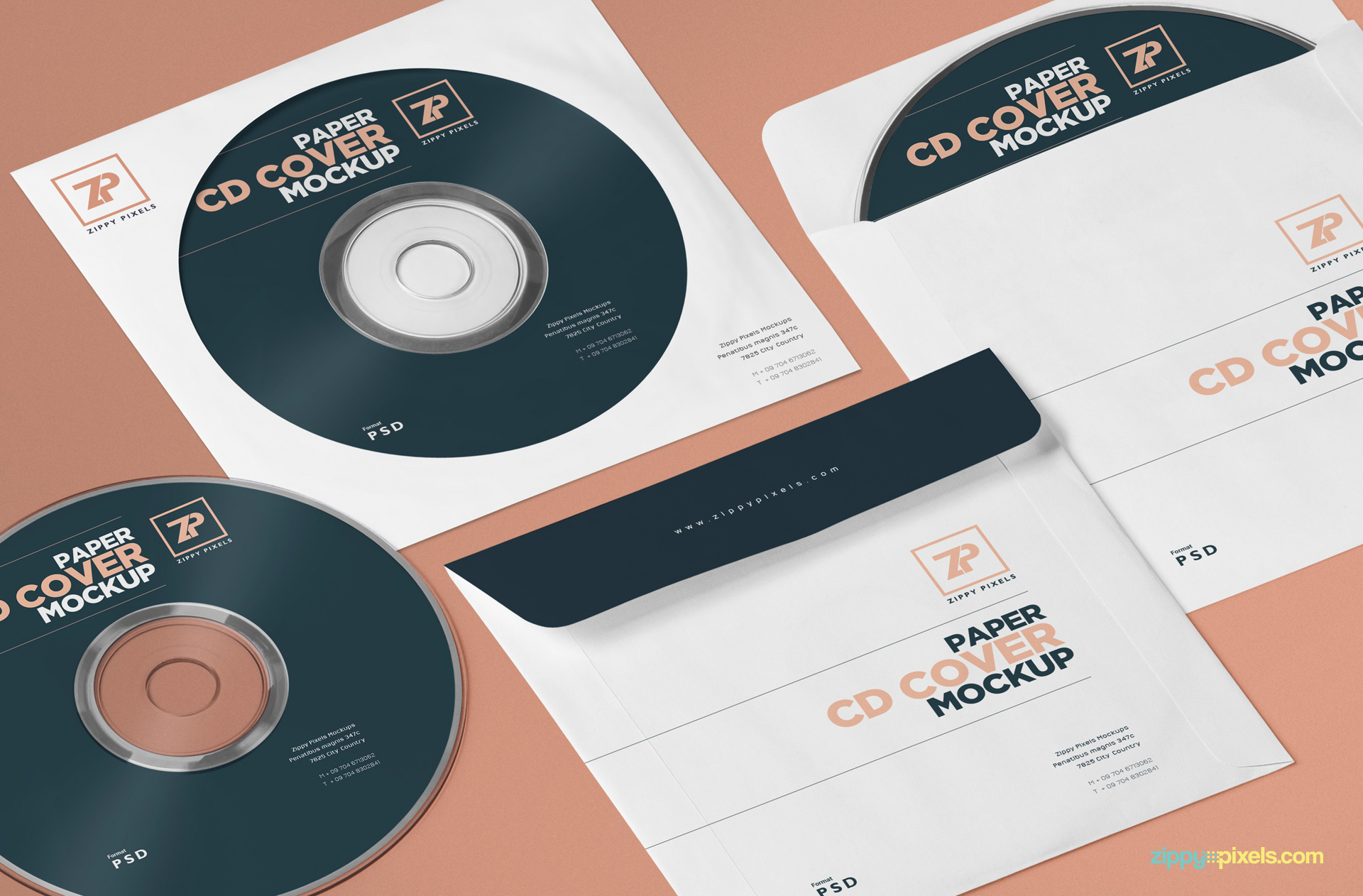 Free paper cover mockup for music album designs