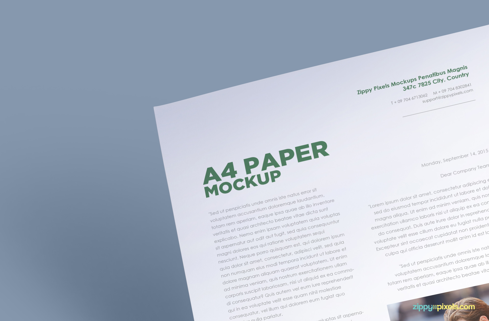 free a4 paper psd mockup to showcase typogrpahy