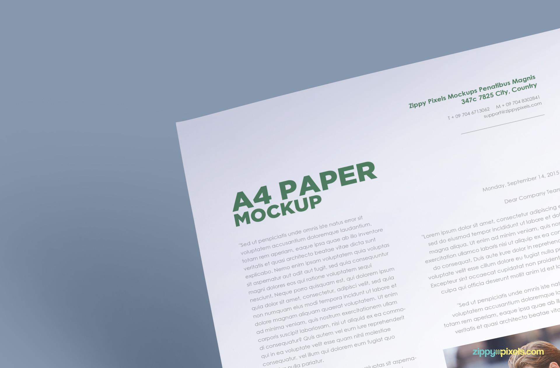 free psd a4 paper mockup zippypixels